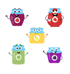 a set of cartoon characters from jam vector image