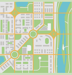 Abstract city map with river vector