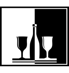 Black and white background with bottle and wine vector