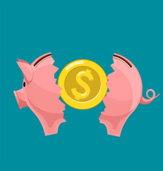 broken piggy bank with golden dollar currency coin vector image