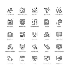 Business and finance line icons 11 vector