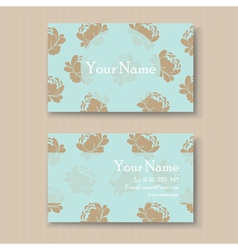 business card with vintage flowers vector image