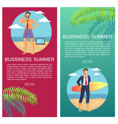 Business summer web pages set vector