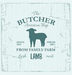 butcher american shop label design with lamb farm vector image