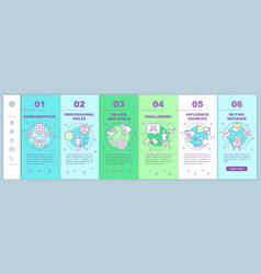 Buyer persona onboarding mobile web pages template vector