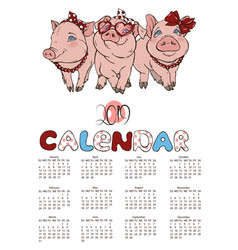 Calendar 2019 with cheerful pink pigs vector