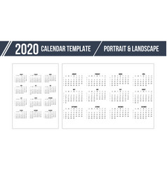 calendar grid for 2020 year on white background vector image
