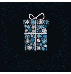 Christmas gift box from snowflakes vector image