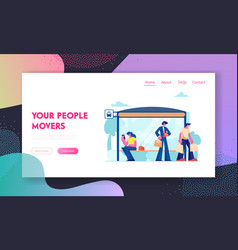 city transport website landing page people stand vector image