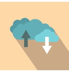 Clouds with arrows flat icon vector image