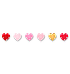 Collection shiny 3d hearts with shadow isolated vector