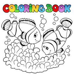 coloring book two cute clown fishes vector image