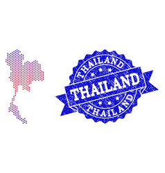 composition of gradiented dotted map of thailand vector image