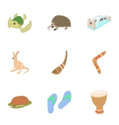 Country australia icons set cartoon style vector