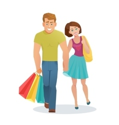 Couple man and woman walking with shopping bags vector