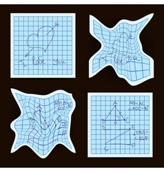 crumpled sheet of exercise book vector image