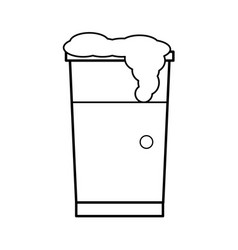 Cup beverage foam cold break outline vector