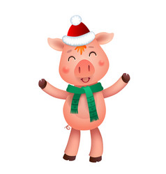 cute pig and santa hat symbol year in the vector image
