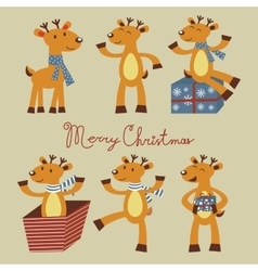 Cute reindeer set vector image
