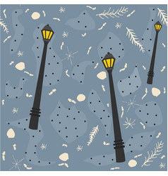 cute seamless pattern with street lanterns vector image