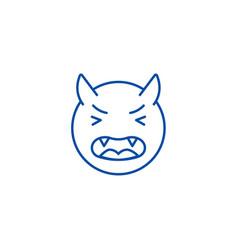 devil emoji line icon concept devil emoji flat vector image