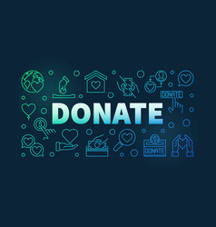 donate colorful thin line horizontal vector image