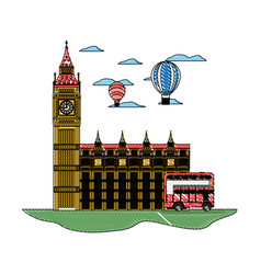 Doodle london clock tower with air balloon and bus vector