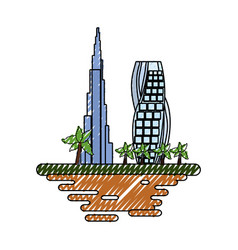 Dubai cityscape cartoon vector