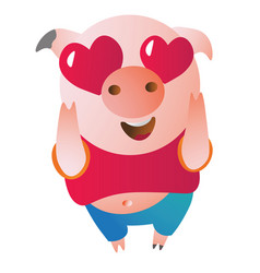 emoji character pig in love looks admiringly vector image