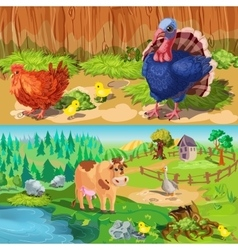 Farm Animals Banners Set vector