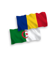 Flags romania and algeria on a white background vector