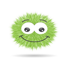 Fluffy pompom fur ball isolated emoticon vector