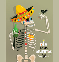Fun poster with skeleton and bird for day vector