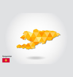 geometric polygonal style map of kyrgyzstan low vector image