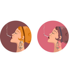 Glamorous woman with abstract shaped earrings vector