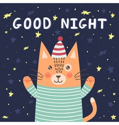 Good night card with a cute cat vector image