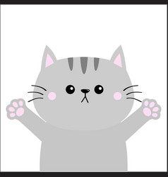 gray cat ready for a hugging blush cheeks open vector image
