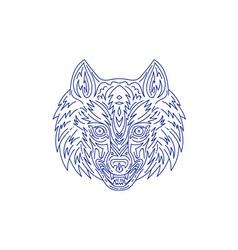 Grey Wolf Head Mono Line vector image