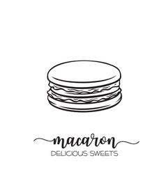 Hand drawn macaron vector