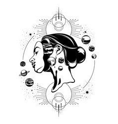 Hand drawn of young beautiful woman geometrical vector