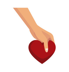 Hand holds love heart romantic symbol vector