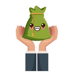 hand with bag of money kawaii cartoon vector image
