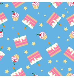 Happy Birthday Seamless Pattern with Cakes vector image