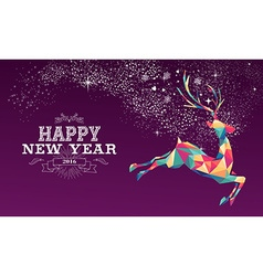 Happy new year 2016 reindeer color triangle vector image