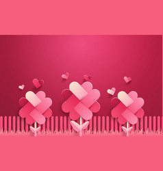 happy valentines cute pink flowers and heart vector image