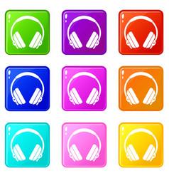 Headphone icons 9 set vector