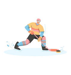 hockey player in uniform holding stick vector image