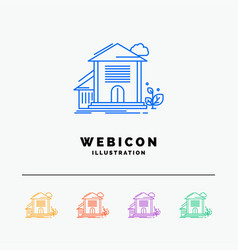 home house apartment building office 5 color line vector image