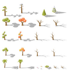 Isometric set of different low poly trees and vector