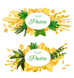 Italian pasta and cooking herbs vector